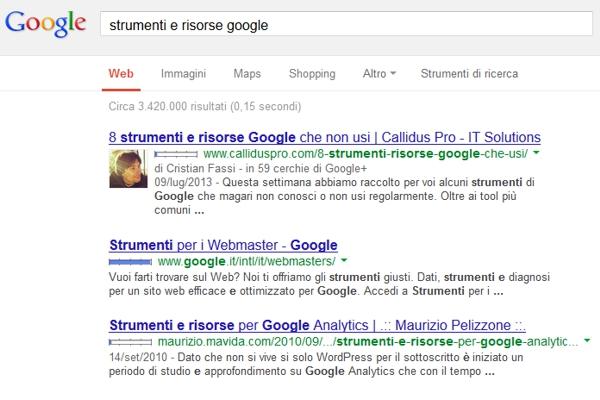 Ricerca Google Author